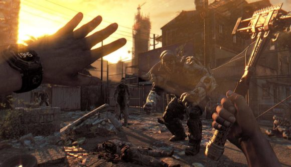 a first-person perspective shows hands held up, holding weapons, as zombie enemies are visible in the distance