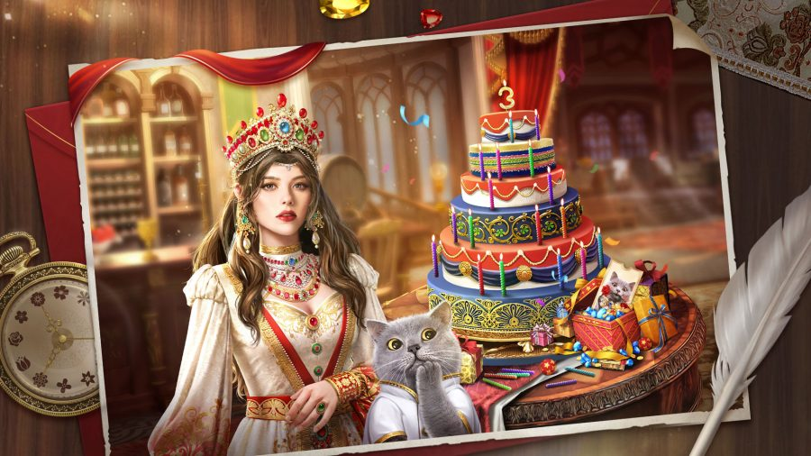 A sultan sat beside a large birthday cake, and Michael the mischievous cat