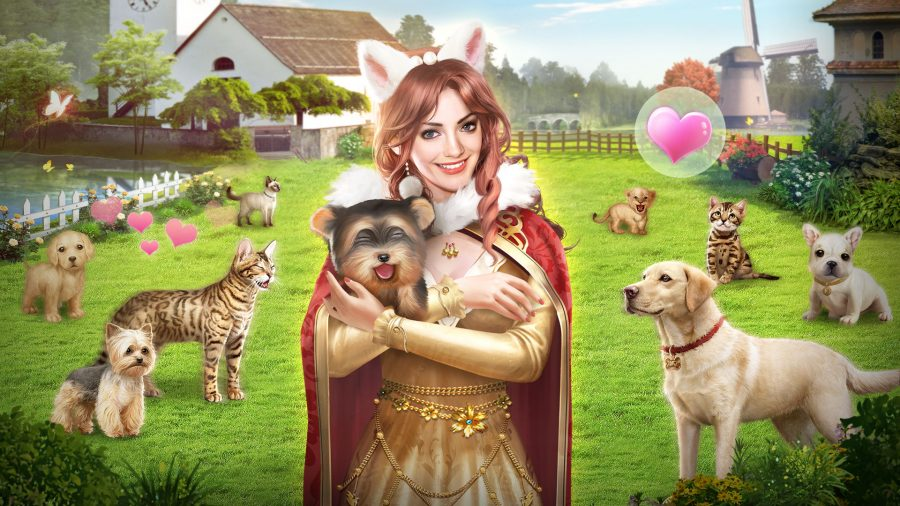 A sultana holding a dog in a field full of pets
