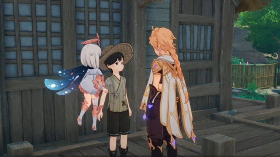 The traveler talking to Chouji in Genshin Impact