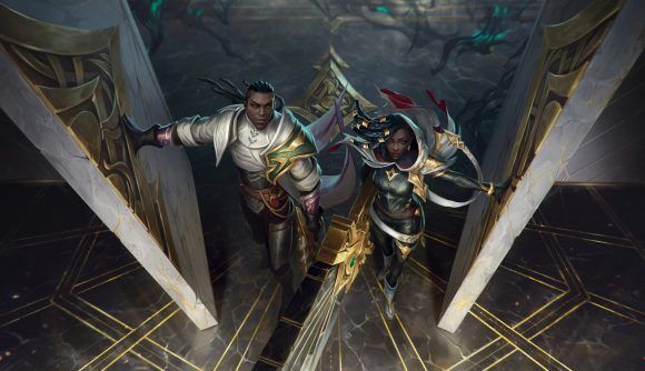 Lucian and Senna walking through a door with the black mist behind them