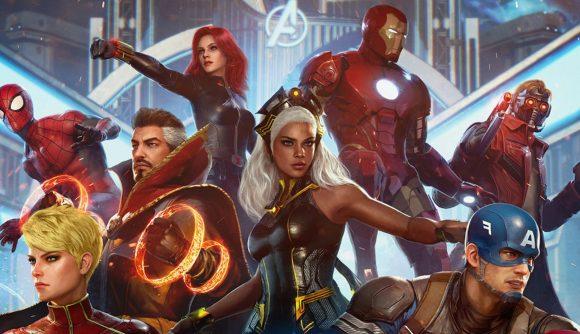 Captain America, Captain Marvel, Storm, Spider-Man, Iron Man, Doctor Strange, and Black Widow