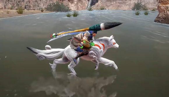 A hunter rides on a Palamute wearing the Amaterasu layered armour