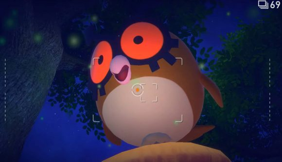 the owl Pokemon Hoothoot is visible, sitting on a branch at night time