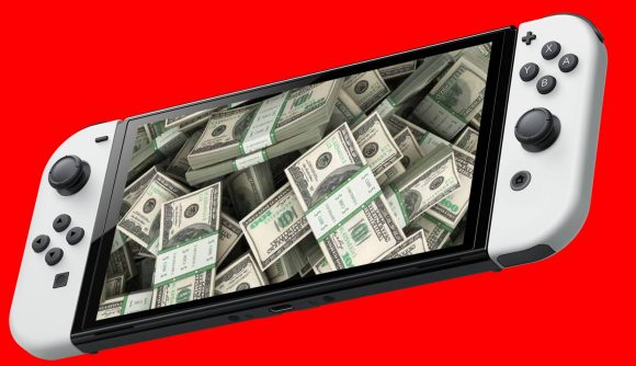 A Nintendo Switch OLED Model is pictured with a large pile of cash on the screen