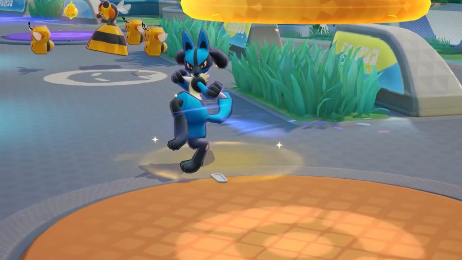 Pokémon Unite's Lucario charging up an attack