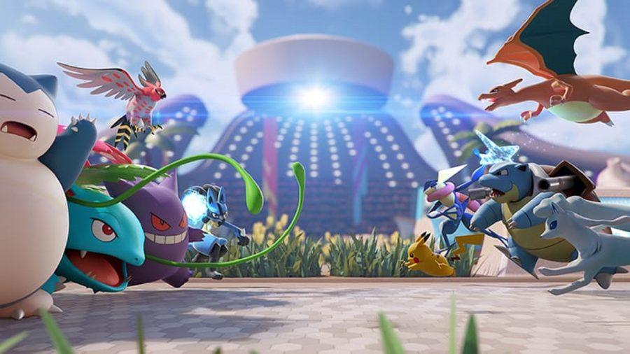 A group of Pokémon battling it out