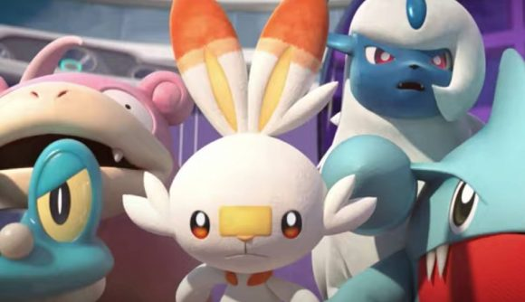 Several Pokemon look forward in a CGI trailer
