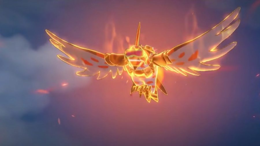 Talonflame soaring through the skies on fire in Pokémon Unite