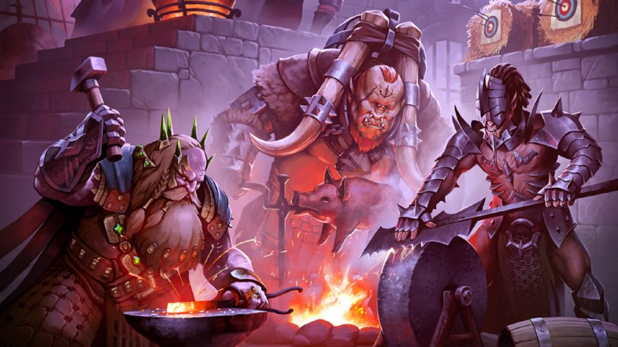 Three Raid Shadow Legends characters forging weapons