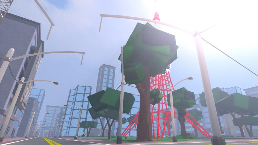 A tree and a tall building in Ro-Punch Man