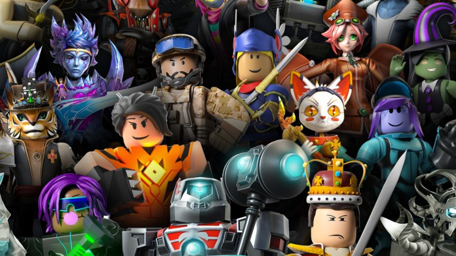 a horde of roblox avatars, some are smiling, others are frowing and a couple have animal heads