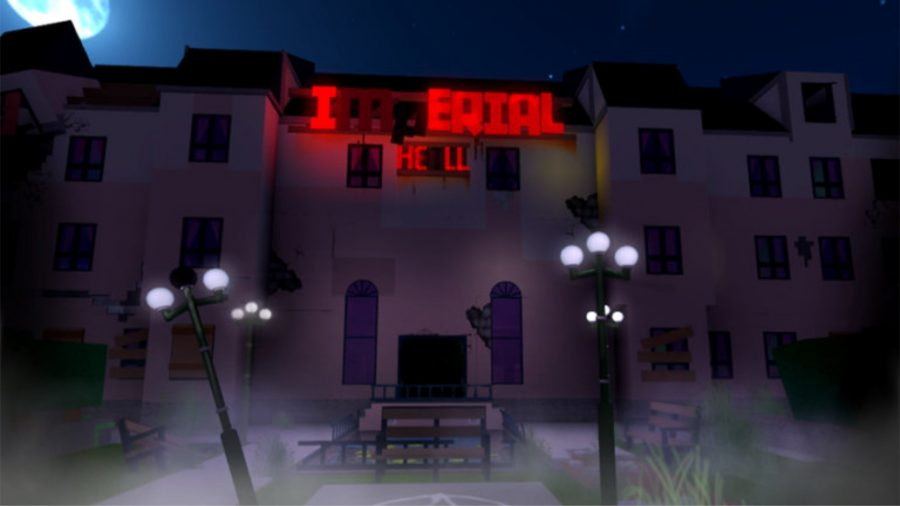 Front view of Roblox's The Haunted Imperial Hotel