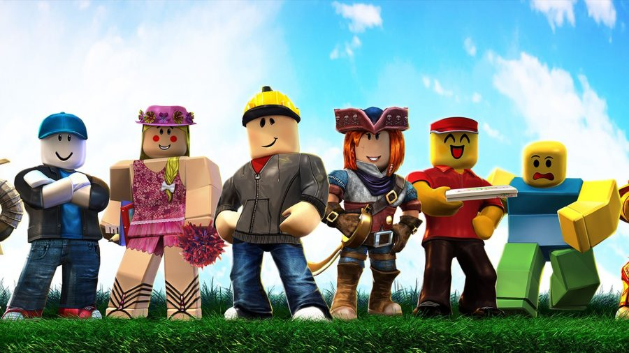 various roblox avatars stood in a row together
