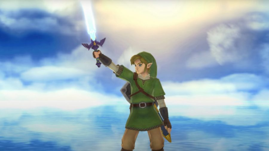 Link holding his sword to the sky