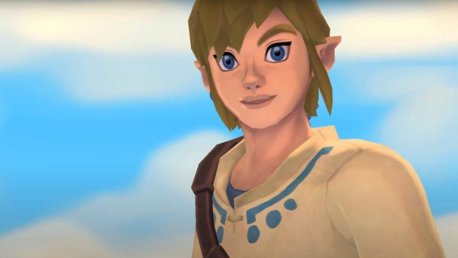 Skyward Sword's Link in front of a blue sky
