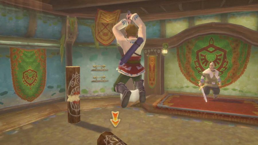 Link performing a fatal blow in Skyward sword