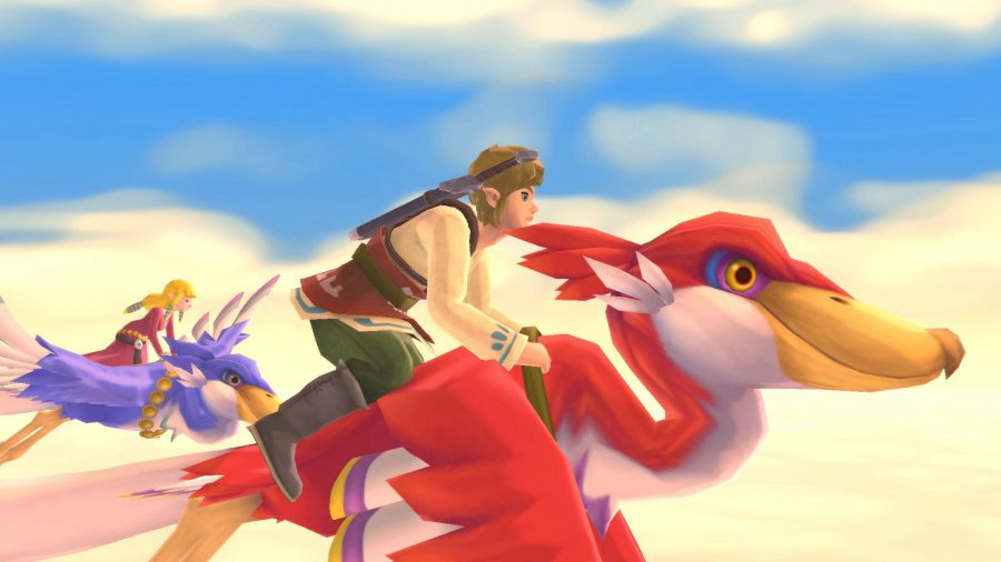 Link and Zelda soar through the sky on the back of Loftwings