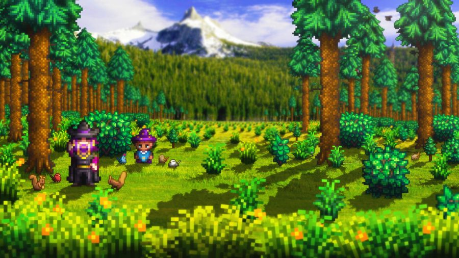 Two characters stood in a forest clearing, surrounded by animals