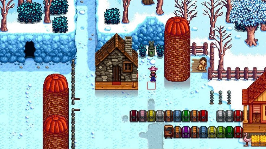 A Stardew Valley silo in the snow