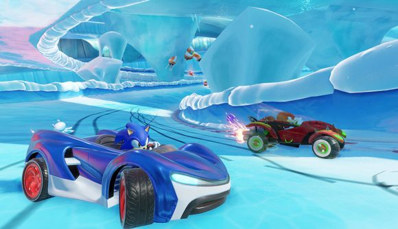 Sonic and Knuckles drifting round the corner of an icy track
