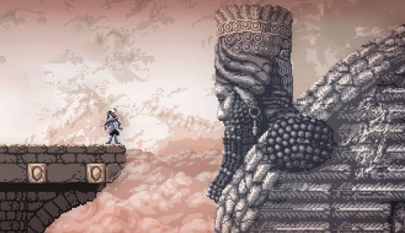 A female protagonist stands on a cliff edge, facing down a large marble statue of a bearded man