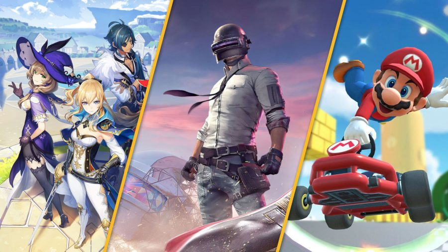 Three of the best android games - Genshin Impact, PUBG, and Mario Kart Tour