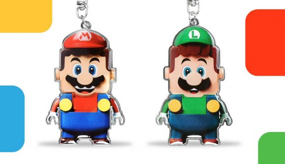 A pair of keyrings are pictured, featuring the Lego versions of Mario and Luigi