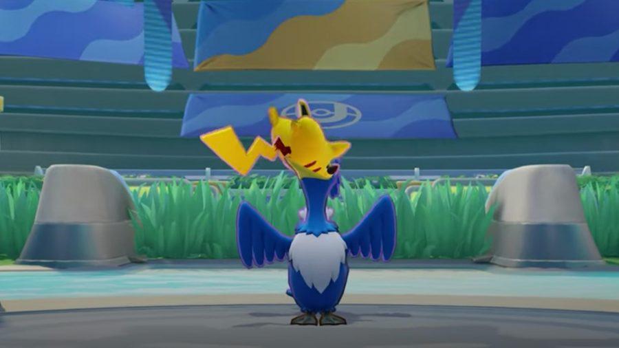 Pokémon Unite's Cramorant standing in the arena