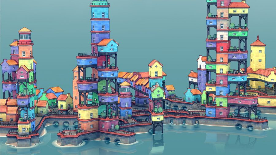 A shot of a Townscaper town