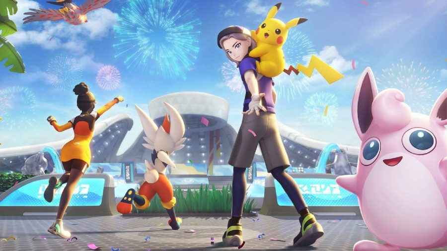 A Pokemon trainer is shown with a P{ikachu on their back, and a Wigglytuff in the foreground
