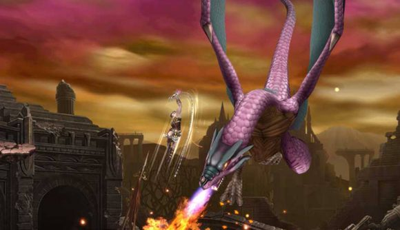 A character jumps and strikes a fist upwards, narrowly missing a giant purple dragon shooting fire forwards