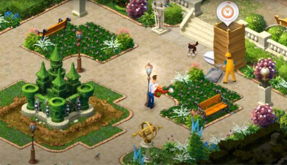 Man stood in a luscious courtyard