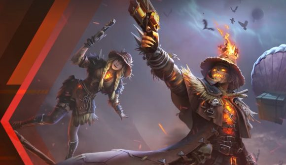 A male and female scarecrow on fire with guns