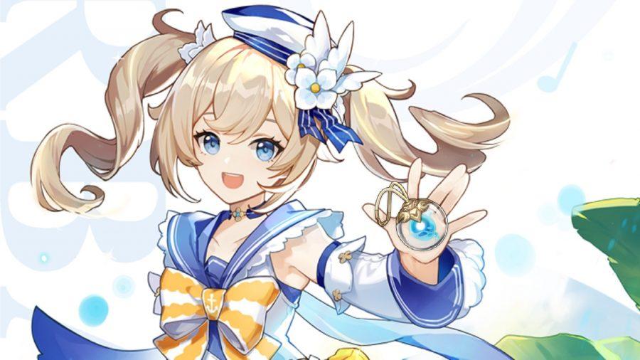 Barbara holding a Mini Seelie gadget