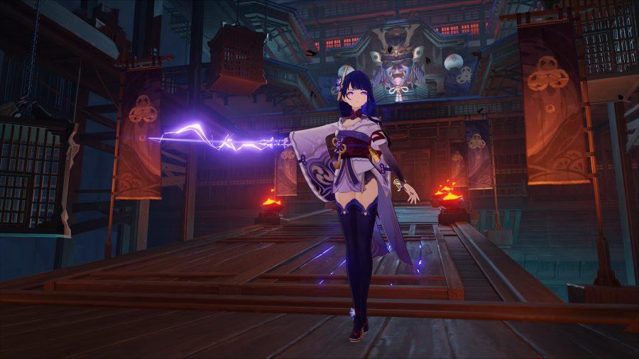 Genshin Impact's Raiden Shogun wielding a sword