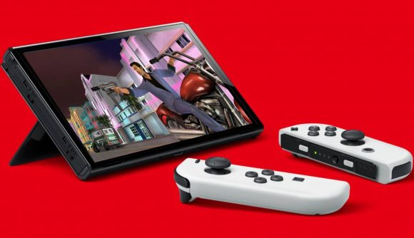 A Nintendo Switch OLED Model is pictured with Grand Theft Auto Vice City being played on the screen.