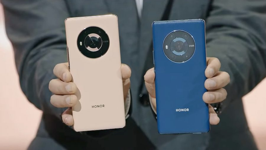 A pink and a blue Honor phone