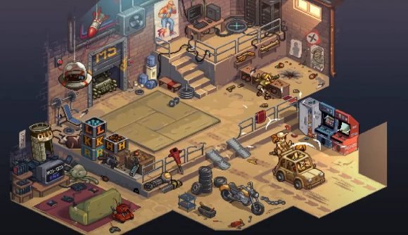 A pixelated garage shows several characters in a car leaving