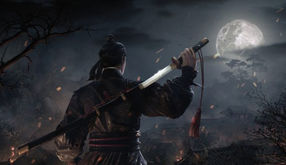 A soldier stood in the moonlight with a sword