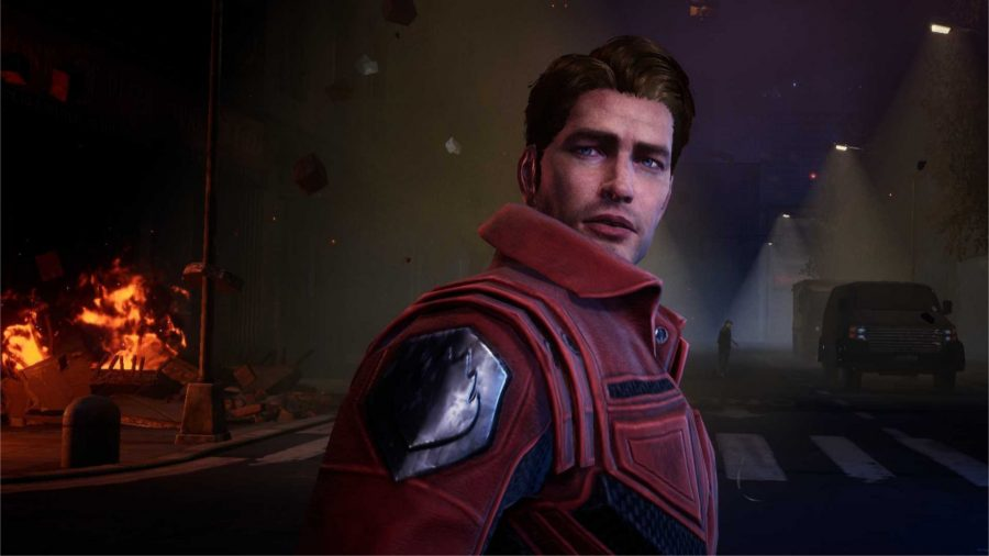 Star Lord without his mask on
