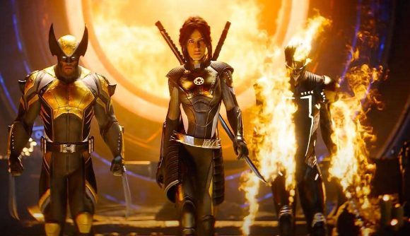 Three characters, including wolverine and Ghost Rider, are seen walking away from a flaming portal