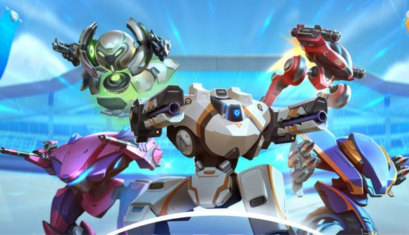 Five diffent robot mechs with weapons