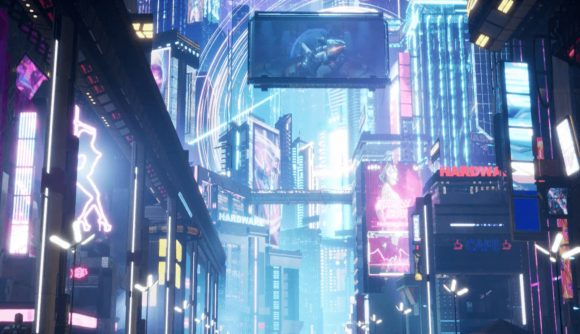 A cyberpunk-themed city