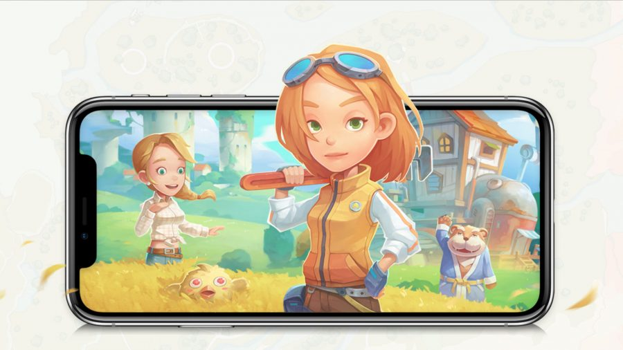 My Time at Portia characters coming out of a mobile phone