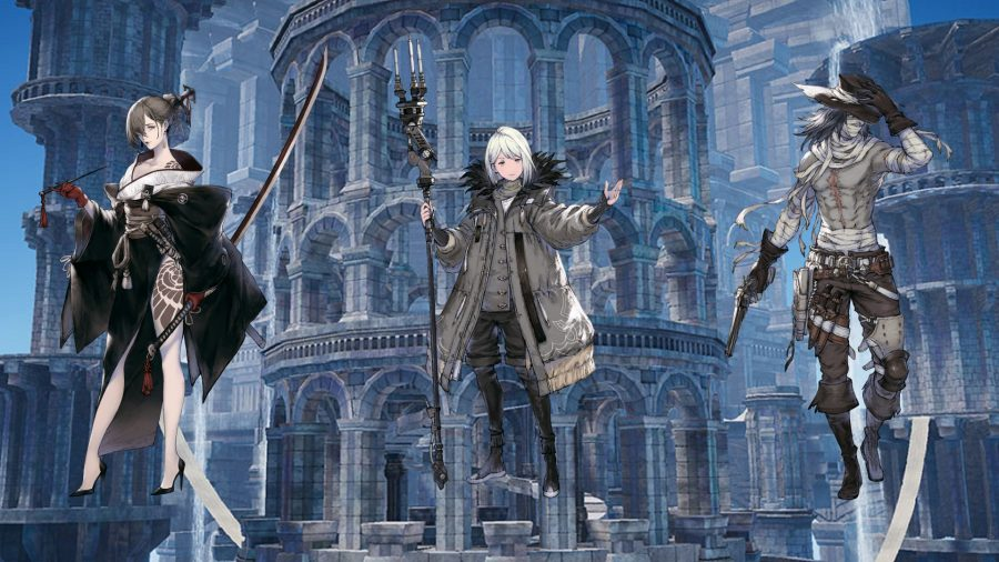 Three Nier Reincarnation characters against a building