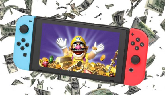 Wario appears on a switch screen swimming in gold, while cash falls around behind the Nintendo Switch