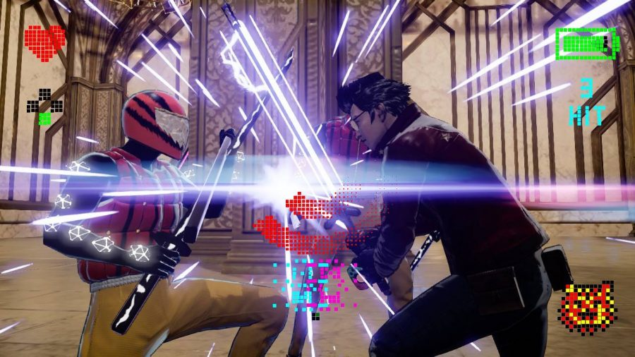 Travis Touchdown is caught in a sword dual with an enemy wearing a bike helmet
