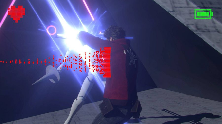 Travis strikes his beam katana sideways through an enemy, as an onscreen icon prompts to swing from right to left.