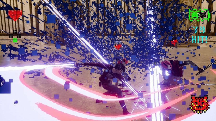 Travis has swung his beam katana through an enemy, with blue blood exploding outwards and filling the screen